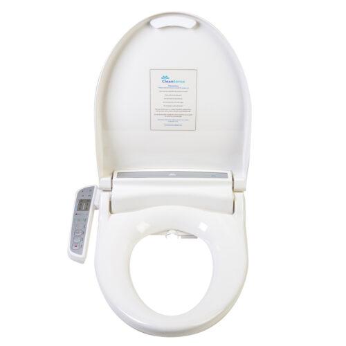 Clear Water Bidets, Clean Sense 1500 bidet seat shown with lid open.