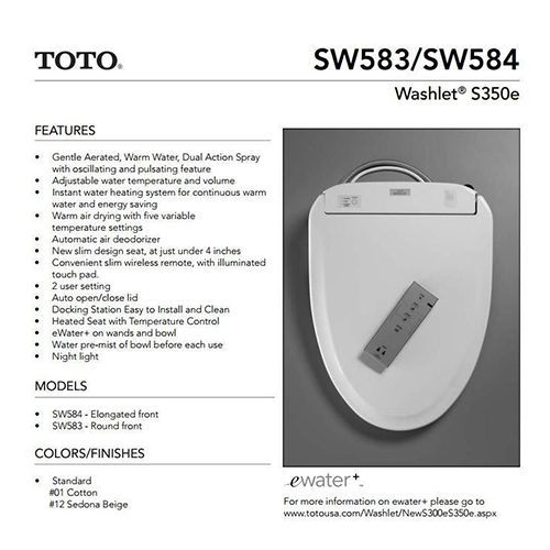 Toto S350e Washlet Clear Water Bidets