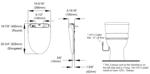 Clear Water Bidets, Bidet Seat Specification Illustration